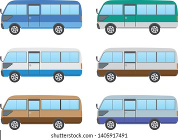 Microbus image illustration. Color variations