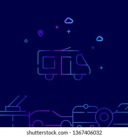 Microbus or Shuttle Bus Vector Line Illustration. Public Transport Gradient Icon, Symbol, Sign. Dark Blue Background. Related Bottom Border.