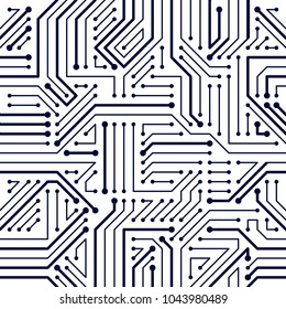 Microchip board seamless pattern, vector background. Circuit board technology electronics wallpaper repeat design.