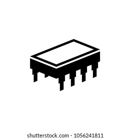 Microchip. Flat Vector Icon. Simple black symbol on white background