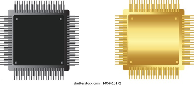 Microchip  icon.  Central processing unit, computer processor,Microchip vector,Chip ,CPU, vector isolate on whit background