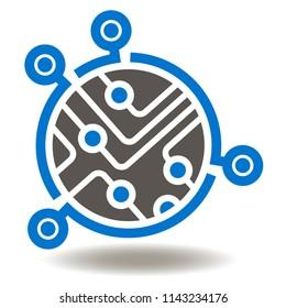 Microchip Icon. Circuit board illustration. Micro controller vector sign. Processor Logo Symbol.
