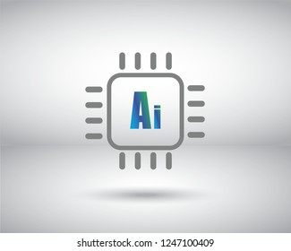 A microchip icon vector with Artificial Inteligence Ai