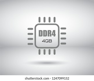 A microchip icon vector with DDR4 text on