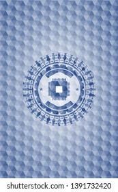 microchip, microprocessor icon inside blue hexagon badge.