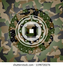 microchip, microprocessor icon on camouflage pattern