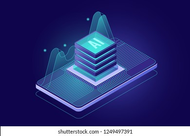 microchip on screen of mobile phone, programming microcontroller concept, artificial intelligence ai icon, smartphone application, big data processing 3d vector dark background