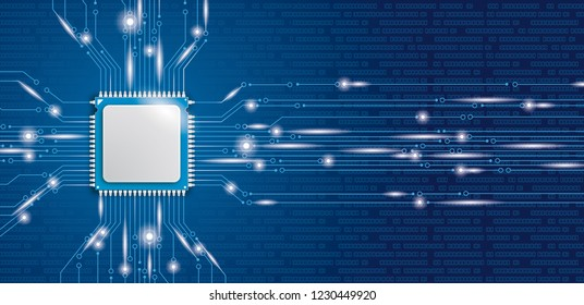 Microchip processor banner with blue background. Eps 10 vector file.