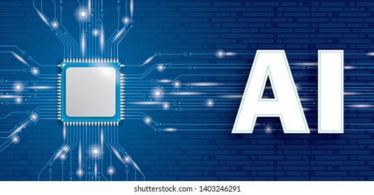 Microchip processor banner with the text AI on the blue background. Eps 10 vector file.