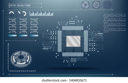 Microchip processor with lights on the blue background. AI. Circuit board. Technology background. Central Computer Processors CPU in HUD UI GUI style concept. Motherboard digital chip.