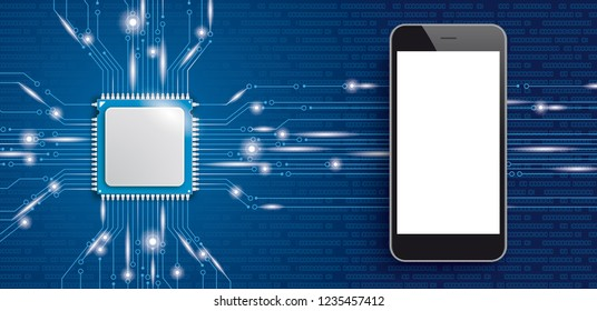 Microchip processor with smartphone with white display. Eps 10 vector file.
