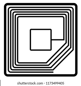 Microchip rfid. Vector flat outline icon illustration isolated on white background.