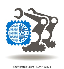 Microchip robot manipulator icon vector. RPA robotic process automation logo. Cyber digital production technology.