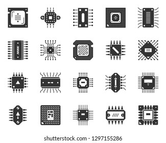 Microchip silhouette icons set. Monochrome web sign kit of cpu. Microprocessor pictogram collection microelectronic, micro chip. Simple black symbol isolated on white. Vector Icon shape for stamp