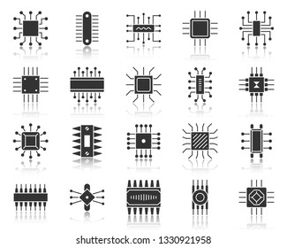 Microchip silhouette icons set. Sign kit of cpu. Microprocessor pictogram collection includes hi tech, computer motherboard, microscheme. Simple vector black symbol. PC chip shape icon with reflection