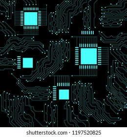 Microcircuit. Abstract techno background. Black background, emerald neon elements