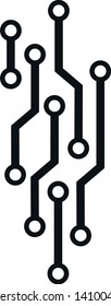 microcircuit computer concept sign. black and white technology isolated vector image