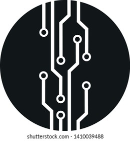 microcircuit icon. round black and white technology digital electronic isolated vector sign