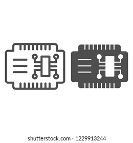 Microcircuit line and glyph icon. Car electronics vector illustration isolated on white. Automobile circuit outline style design, designed for web and app. Eps 10