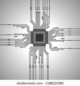Microcircuit on a gray background. Microprocessor. Electronic circuit. Vector microcircuit. Printed circuit board.