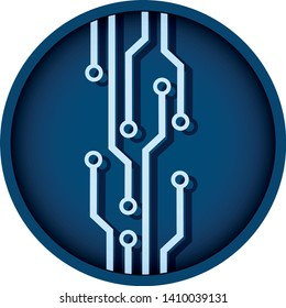 microcircuit round technology icon. colored digital computing electronic isolated vector sign