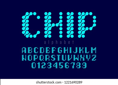 Microcircuit style font, alphabet letters and numbers vector illustration