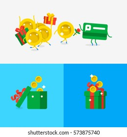 Microcredit. A loan to buy gifts. Quick money to a credit card. Heap of gift boxes with money. Character flat design. Vector illustration of credit card with coins