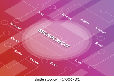 microcredit words isometric 3d word text concept with some related text and dot connected - vector