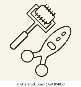 Microcurrents line icon. Dermal roller, cosmetologist tool, needles. Beauty care concept. Vector illustration can be used for topics like cosmetology, skin care, anti-aging therapy