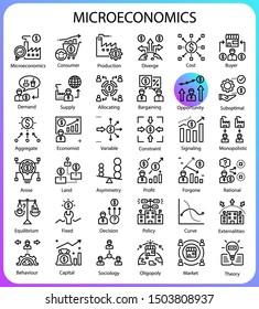 Microeconomic concept icons 64px artboard,