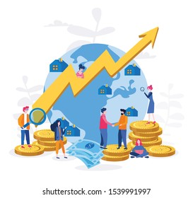 Microeconomic , interaction of economic agents Vector illustration.for web banner, infographics, mobile website. Landing page template. Profit.