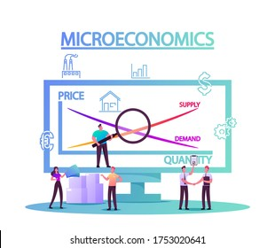 Microeconomics, Tiny Characters Local Business Increase Money Profit Stats, Product Positive Value. Individual Company Resources Price Balance. Economy Study Basics. Cartoon People Vector Illustration