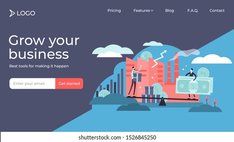 Microeconomics tiny person vector illustration landing page template design. Local business money profit stats and product positive value. Individual company resources price balance. Economy basics.
