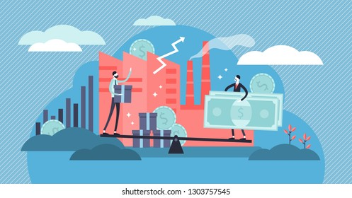 Microeconomics vector illustration. Flat tiny local business persons concept. Increase money profit stats and product positive value. Individual company resources price balance. Economy study basics.