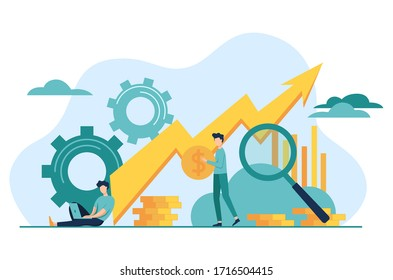 Microeconomics vector illustration. Flat tiny local business persons concept.  Individual company resources price balance. Economy study basics.