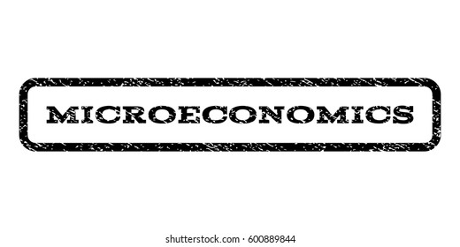 Microeconomics watermark stamp. Text caption inside rounded rectangle with grunge design style. Rubber seal stamp with scratched texture. Vector black ink imprint on a white background.