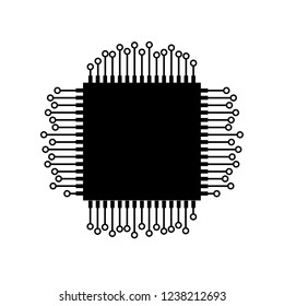 microelectronic chip schematic vector image isolated with contacts