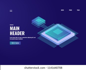Microelectronic computer chip icon, data computing process, server room, cloud storage, database, digital technology of future, isometric illustration vector neon dark
