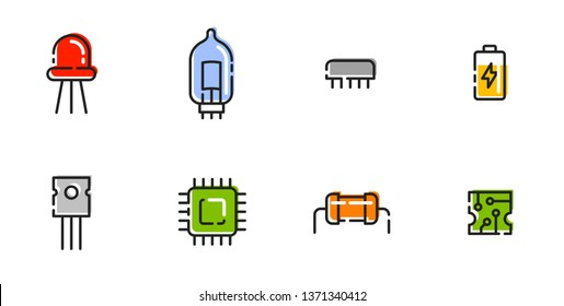 Microelectronics. Set of eight colored linear icons