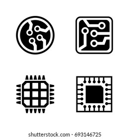 Microelectronics. Simple Related Vector Icons Set for Video, Mobile Apps, Web Sites, Print Projects and Your Design. Black Flat Illustration on White Background.