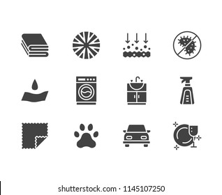 Microfiber cloth properties flat glyph icons. Absorbing material, dust cleaning, washable, antibacterial, clean detergent illustrations. Signs for napkin package. Solid silhouette pixel perfect 64x64.