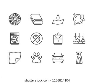 Microfiber cloth properties flat line icons. Absorbing material, dust cleaning, washable, antibacterial, clean detergent illustrations. Thin signs for napkin package.