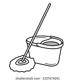 Microfiber spin mop with bucket. Vector outline icon isolated on white background.