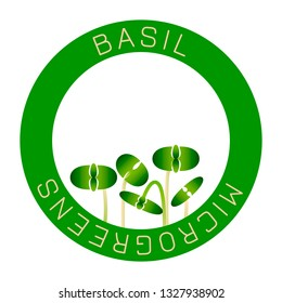Microgreens Basil. Seed packaging design, round element in the center. Sprouting seeds of a plant. Vitamin supplement, vegan food
