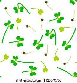Microgreens Broccoli. Sprouting seeds of a plant. Seamless pattern. Isolated on white. Vitamin supplement, vegan food