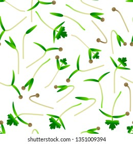 Microgreens Cilantro. Sprouting seeds of a plant. Seamless pattern. Isolated on white. Vitamin supplement, vegan food