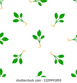 Microgreens. Sprouting seeds of a plant. Seamless pattern. Vitamin, vegan food. Isolated on white