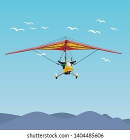 Microlight flight illustration on blue sky, vector