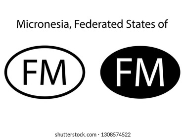 Micronesia, Federated States of country code icon.  Iso code country domain name.   FM - Micronesia, Federated States of  abbreviated. vector