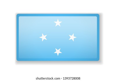 Micronesia flag bright square icon. Vector Illustration